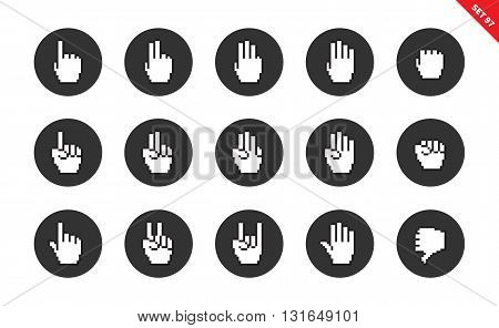 Pixel hands vector icons set. Computing concep, cursor items, fist, fingers, gestures. Isolated on white background