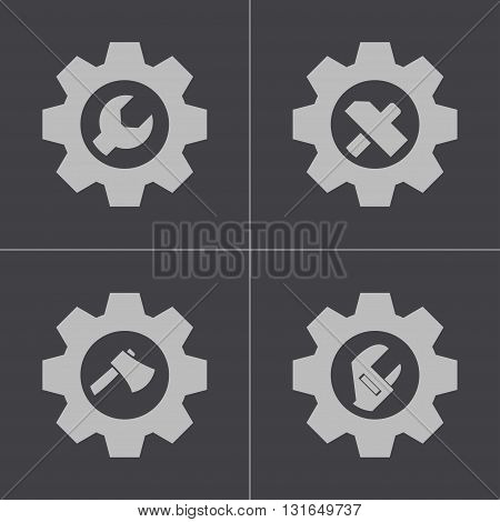 Vector black tools in gear icons set on grey background