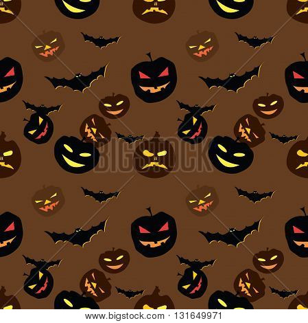 Halloween Pattern with bats and pumpkins. Print colors used. Pattern can be found in swatch panel