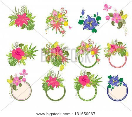 Set of beautiful bouquets and labels with exotic flowers
