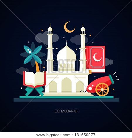 Set of modern vector flat design postcard template with icons of islamic holiday, culture, traditional greeting Eid Mubarak. Cannon, mosque, lamp, sacred book, palm tree