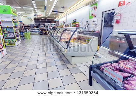 Jerusalem, Israel - February 17, 2013: Interior  Of Meat And Salads Section In Supermarket