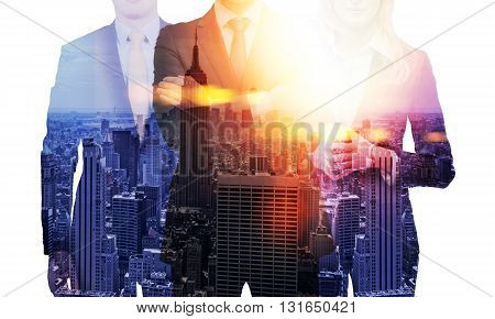 Businesspeople on new York city background. Double exposure