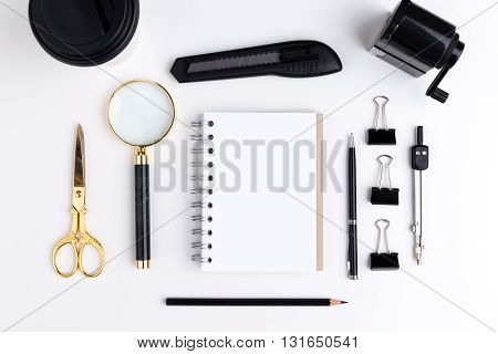 Stationery Items And Blank Notepad