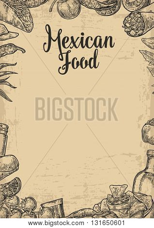 Mexican traditional food restaurant menu template with traditional spicy dish. burrito tacos chili tomato nachos tequila lime. Vector vintage engraved illustration on beige old paper texture background.