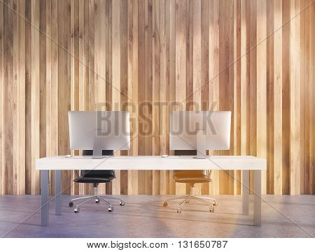 Wooden Interior With Workspace