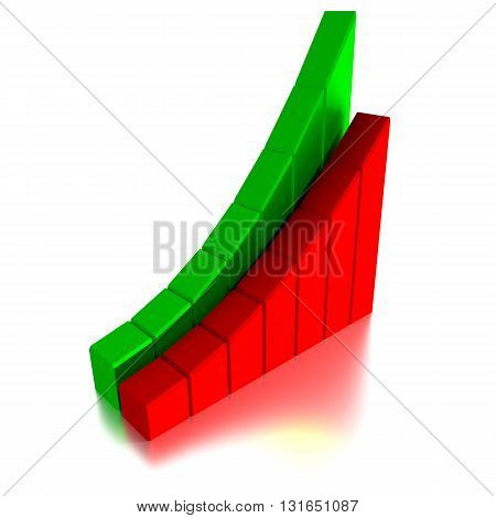 Stock Market Graph and Bar Chart, 3d illustration