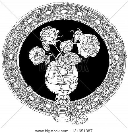 frame with roses in vintage glass, old masters style bouquet for adult coloring book in zen art therapy style for anti stress drawing. Hand-drawn, vector, dutch masters style, for coloring book