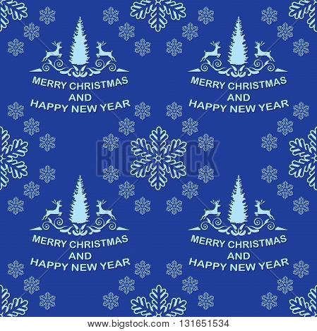 Blue Winter Holiday pattern with Christmas trees and reindeer. Print colors used.
