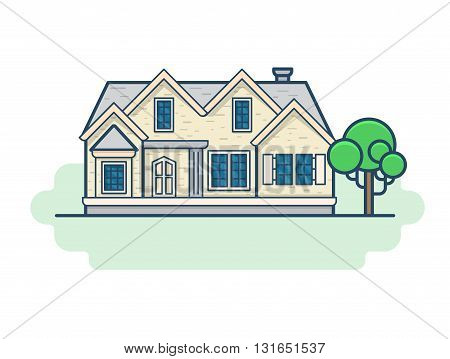 Family country house architecture building set. Linear stroke outline flat style vector icons. Color linear icon collection.