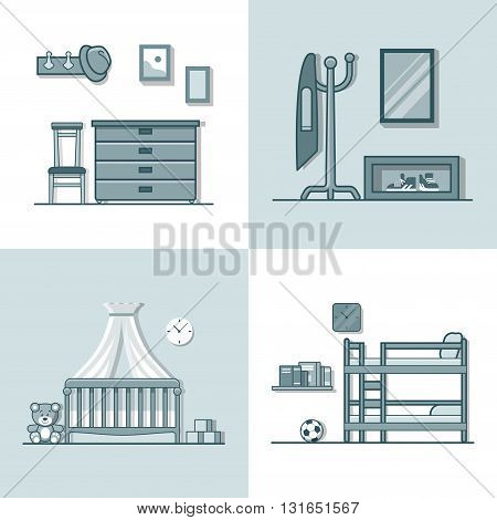 Hall hallway children kid room interior indoor set. Linear monocolor stroke outline flat style vector icons. Monochrome icon collection.