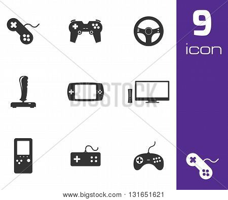 Vector black video game icons set white background