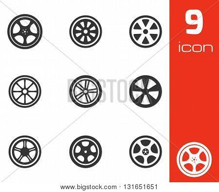 Vector black wheel disks icons set on white background