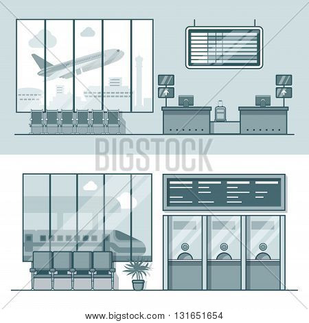 Airport registration reception desk railway train station ticket desk office interior indoor set. Linear stroke outline flat style vector icons. Monochrome icon collection.