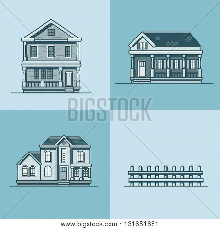 City town house architecture object building set. Linear stroke outline flat style vector icons. Monochrome icon collection.