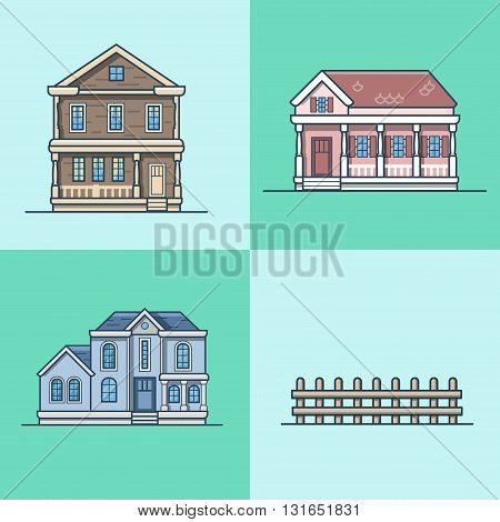 City town house architecture object building set. Linear stroke outline flat style vector icons. Multicolor icon collection.