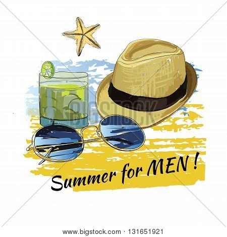 Vector illustration of background summer with lettering, sunglasses, shales, sky and sea.Summer for men.