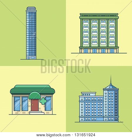 City town skyscraper hotel house pharmacy drug store architecture building set. Linear stroke outline flat style vector icons. Multi color icon collection.