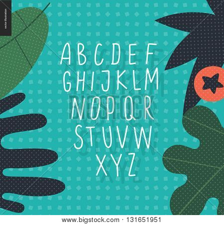 Vector handwritten uppecase latin alphabet on the background decorated with leaves on geometric seamless patetrn