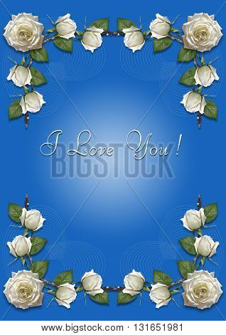 Greeting card with frame of white roses on a blue background