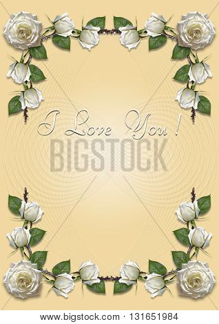 Greeting card with frame of white roses on a yellow background