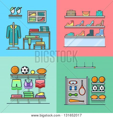 Boutique clothes clothing accessory shoes sports inventory tool shop store interior indoor set. Linear stroke outline flat style vector icons. Color icon collection.