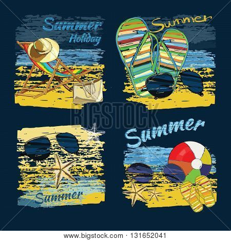 Vector illustration of set background summer with lettering texts, recliner on the sand with hat, sunglasses, ball and Slide Beach Sandal. Summer holiday. Hand drawn sketch elements for beach.
