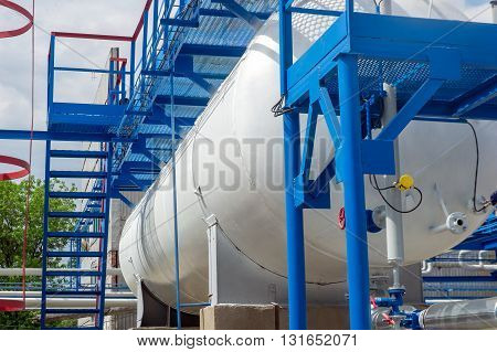 Oil tanks at the gas processing plant