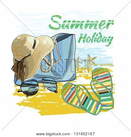 Vector illustration of  background summer with lettering texts, recliner on the sand with hat, sunglasses, ball and Slide Beach Sandal. Summer holiday. Hand drawn sketch elements for beach.