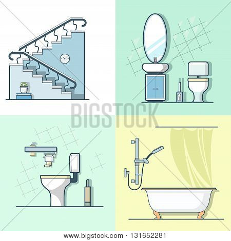 Bathroom toilet ladder interior indoor element furniture set. Linear stroke outline flat style vector icons. Color line art icon collection.