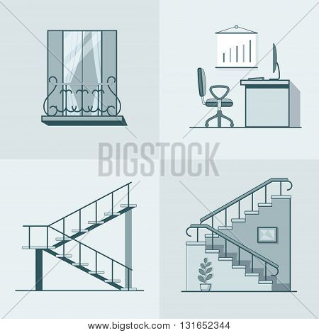 Balcony office workplace ladder linear outline architecture building element set. Linear stroke outline flat style vector icons. Mono color icon collection.