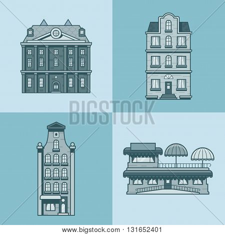 City town houses hotel cafe restaurant terrace architecture building set. Linear stroke outline flat style vector icons. Mono color icon collection.