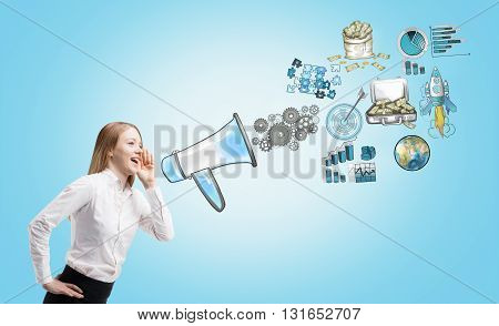 Businesswoman speaking into megaphone on blue background with different conceptual icons