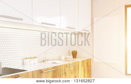 Side view of bright luxury kitchen interior with blank whiteboard and window. Toned image. Mock up 3D Rendering