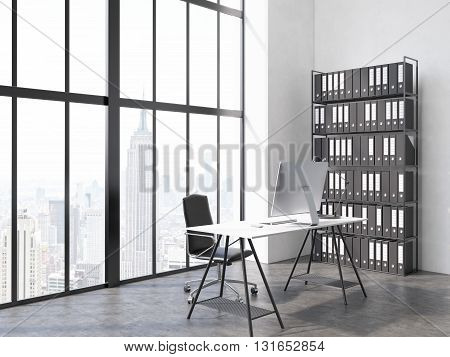 Side view of office interior with computer monitor and lamp on desk chair book shelf concrete floor and window with New York city view. 3D Rendering