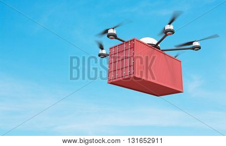 Quadrocopter with corrugated cargo in the sky. 3D Rendering