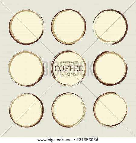 Abstract round coffee cup stains. Set of vector round stains isolated on gray background. Circle badges design elements in brown colors. EPS8 vector illustration.