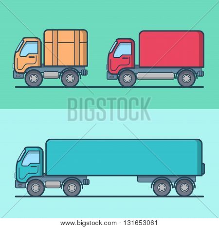 Truck van road transport set. Linear stroke outline flat style vector icons. Color outlined icon collection.