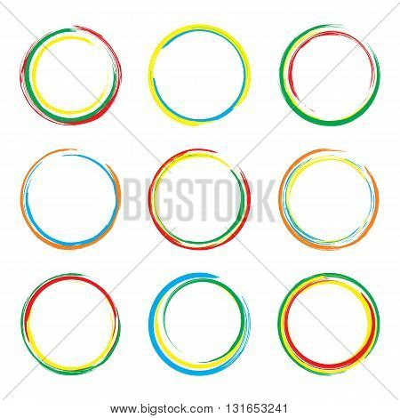 Abstract round paint stains. Set of vector paint stains isolated on white background. Circle badges design elements in multiple colors. EPS8 vector illustration.