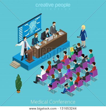 Medical medicine healthcare international worldwide conference concept. Flat 3d isometry isometric style web site app icon set concept vector illustration. Creative people collection.
