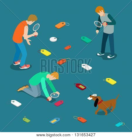 Tagging labeling tag label search concept. Young men dog seek scattered tags. Flat 3d isometry isometric style web site app icon set concept vector illustration. Creative people collection.
