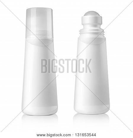 White tubes of deodorant isolated on white with