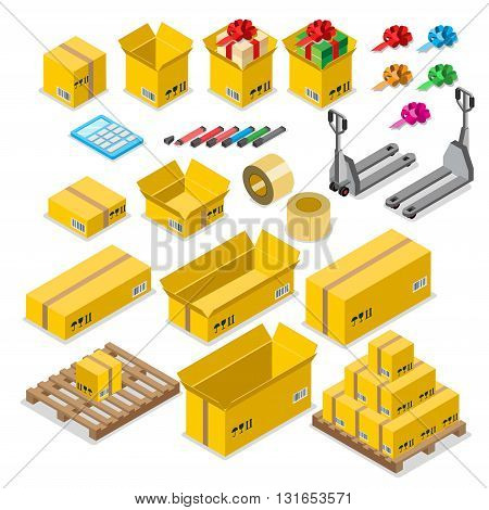Box goods crate storage delivery warehouse concept icon set. Flat 3d isometry isometric style web site app vector illustration. Package packaging pack packing fork wheel roll tape pallet.