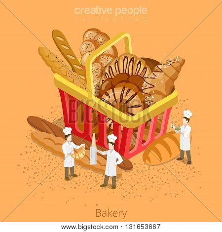 Bakery fresh basket pastry concept. Flat 3d isometry isometric style web site icon set vector illustration. Micro bakers cook huge shopping cart bread croissant baguette. Creative people collection.