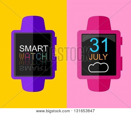 Colorful Modern Trandy Smart Watch. Sportwatch. Concept Flat Design. Vector Illustration.