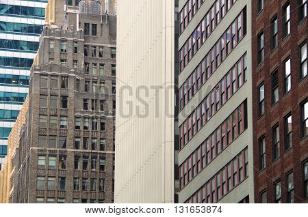 Architectural Background perspective of windows and  NYC  buildings