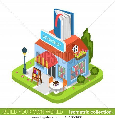 Bookstore book building shop realty real estate concept. Flat 3d isometry isometric style web site app icon set concept vector illustration. Build your own world architecture collection.