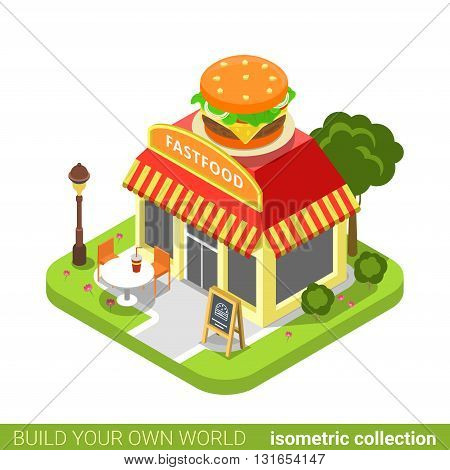 Fast food diner restaurant cafe shop burger shape building realty real estate concept. Flat 3d isometry isometric style web site app icon concept vector illustration. Build your own world collection.