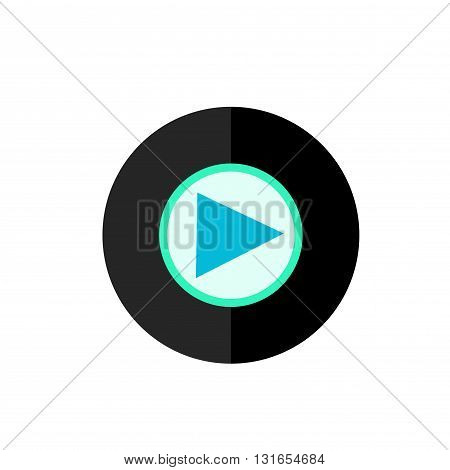Flat Play Icon in Circle Frame for Web App Internet Smartphone Interface. Vector Button