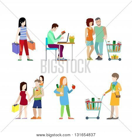 Urban young people shopping cart grocery couple family flat web infographic concept vector icon set. Creative people collection.